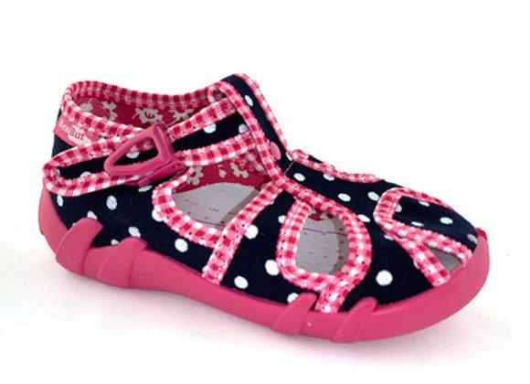 RBG13_128LB_CT Black Polka Dot Canvas Sandals