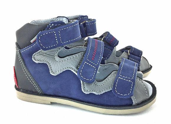 MBOR334_OS Blue-Gray Leather Sandals