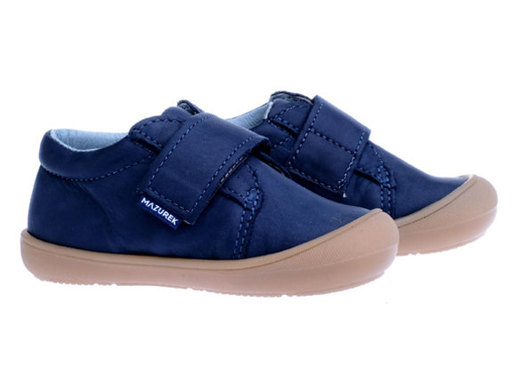MB_1305N_S Navy Leather Sneakers