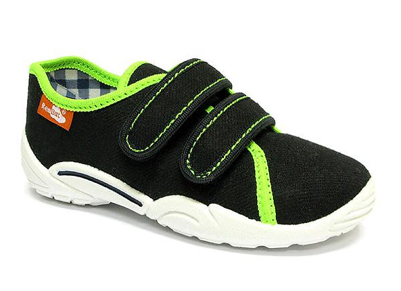 RBB33_374_0620 Black Neon Green Canvas Sneakers