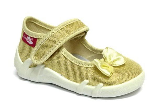 RBG13_139_0401 Gold Bow Canvas Shoes