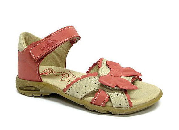 RBG21_3241C_OS Coral/Beige Leather Sandals