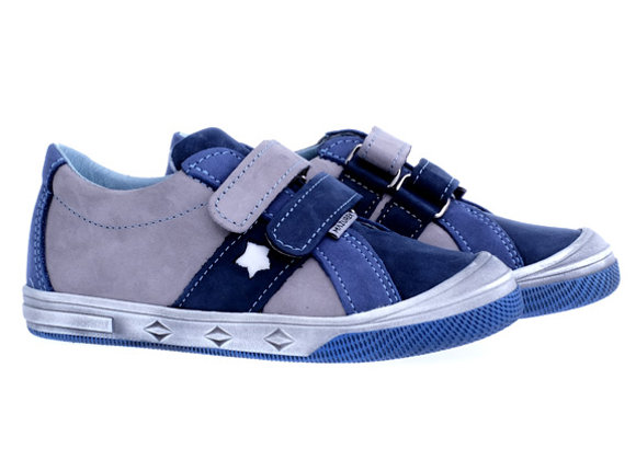 MB_1235GN_S Gray-Navy Leather Sneakers
