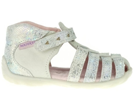 MG245W_CS White/Silver Leather Sandals