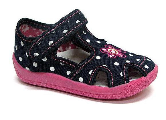 RBG13_141_0102CT Navy Polka Dot Canvas Sandals