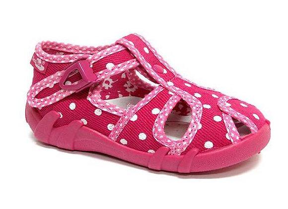 RBG13_128_L_0040CT Pink Polka Dot Canvas Sandals