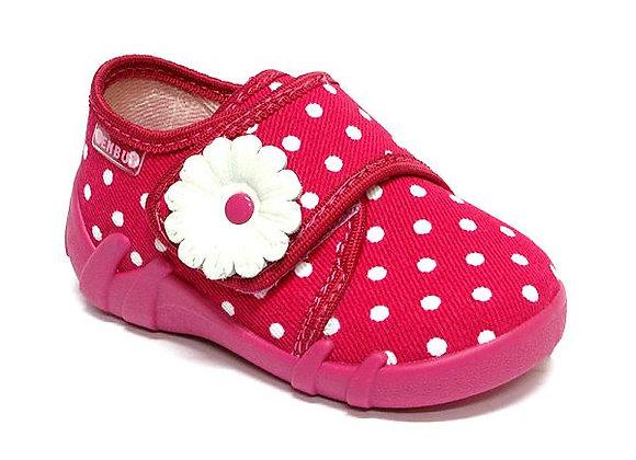 RBG13_110_0040 Hot Pink Polka Dot Canvas Shoes