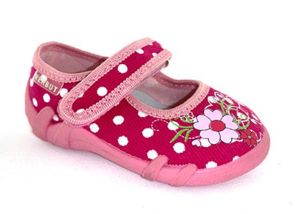 RBG13_139MD Pink Polka Dot Canvas Shoes