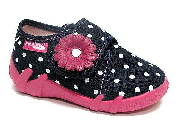 RBG13_110_0102 Navy Polka Dot Canvas Shoes