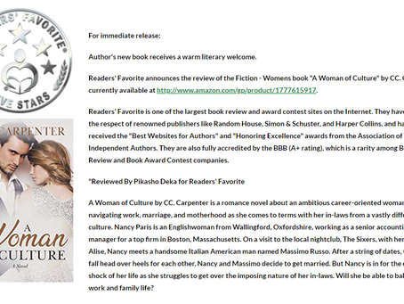 Many 5-Star Reviews for 'A Woman of Culture: A Novel' by CC. Carpenter