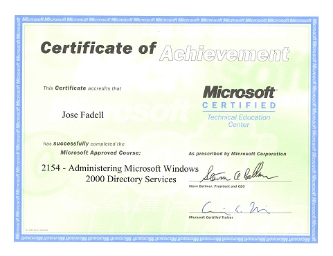 Certification Windows 2K Directory Services
