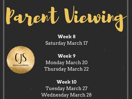 Parent Viewing Dates 2018