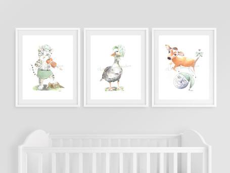 Mother Goose Nursery Rhymes Wall Art - Set of Three
