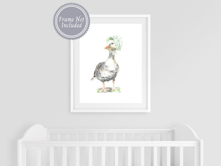 Nursery Prints Decor - Nursery Rhymes Mother Goose - Farmhouse Watercolor Art Print - Gender Neutral Baby Room - Baby Farm Animals