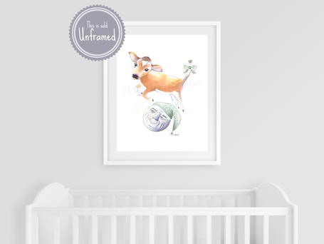 The Cow Jumped Over the Moon, Nursery Rhymes Wall Art, Mother Goose Rhymes, Vintage Style Farmhouse Nursery Decor, Print of Watercolor Art