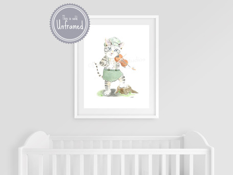The Cat and the Fiddle, Nursery Rhymes Wall Art, Watercolor Print, Vintage Style Farmhouse Nursery Decor