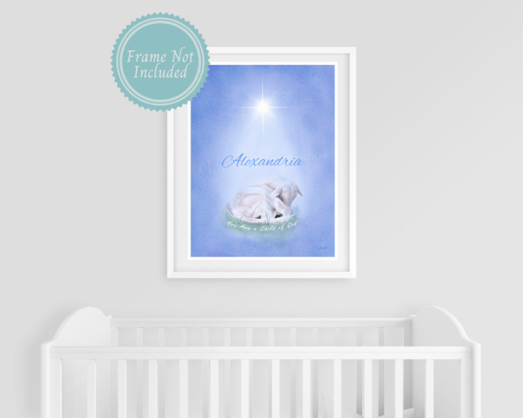 """Personalized """"You Are a Child of God"""" Nursery, Baptism or First Communion Print"""