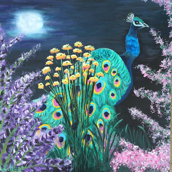 Peacock at Night - Original Painting - 20x20
