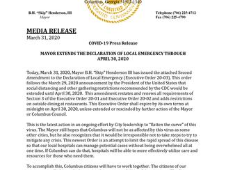 Mayor of Columbus, Ga extends Social Distancing to 4/30