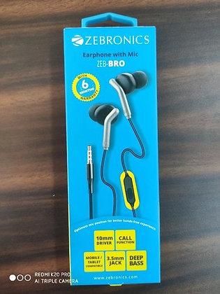 H- Zebronics  Earphone with Mic(BRO)MRP-399/-