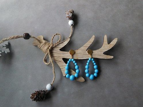 Créoles Juliette en perles bleu turquoise (petit modèle)