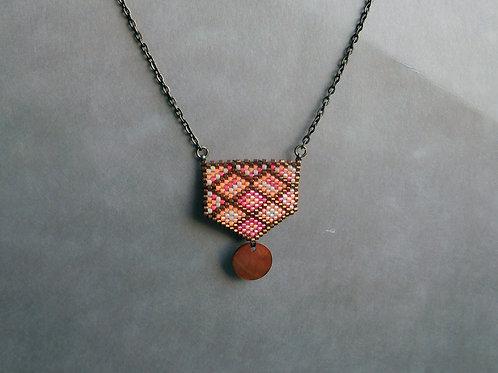 Erika topaze, crème et rouge - collier mini plastron miyuki