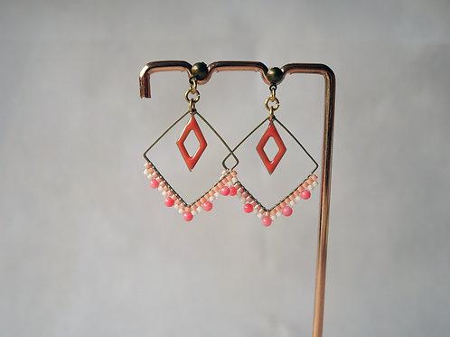 Boucles d'oreilles Leana corail - boucles d'oreilles perles miyuki et corail