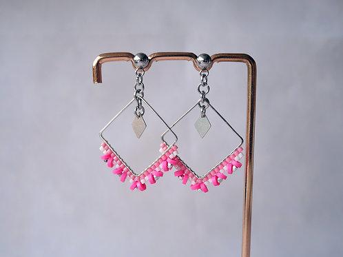 Boucles d'oreilles Lexa rose - boucles d'oreilles perles miyuki et heishi