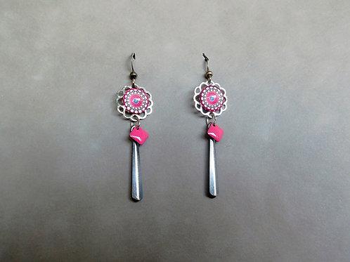 Mandalana rose et argent - boucles d'oreilles mandala, sequin émaillé et métal