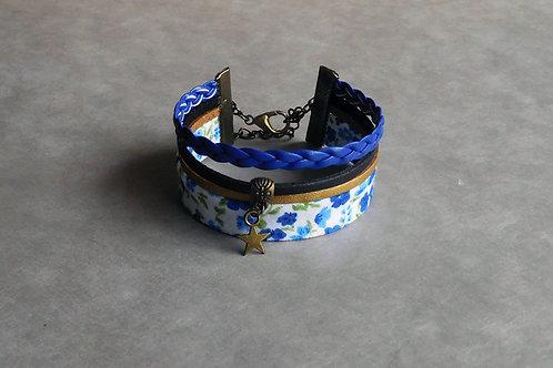 Fleur bleue - Manchette liberty et simili cuir bleu, noir et doré
