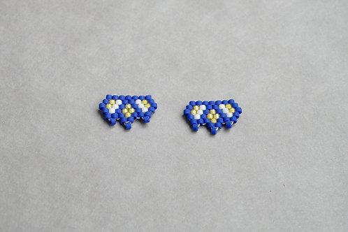 Puces d'oreilles Miyuki bleu et jaune