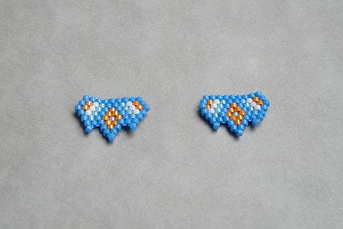Puces d'oreilles Miyuki bleu et orange