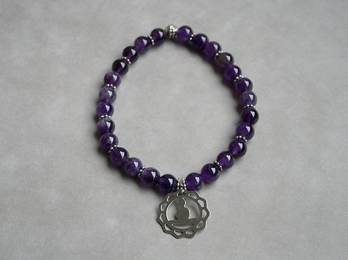 """Bracelet """"Naturea"""" Améthyste et médaille zen"""
