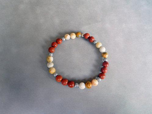 """Bracelet """"protection"""" Jaspe Rouge et Agate Crazy Lace 6 mm"""