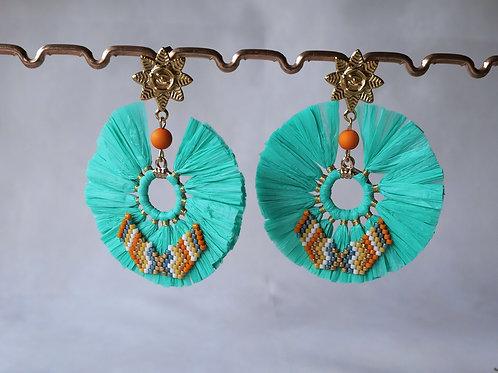 Boucles d'oreilles Summer raphia et perles miyuki : Turquoise et orange