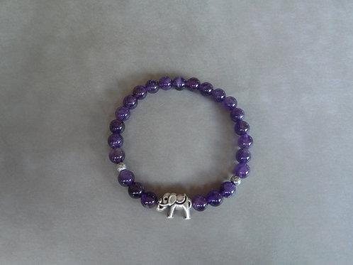 """Bracelet """"Sagesse"""" Améthyste et éléphant"""