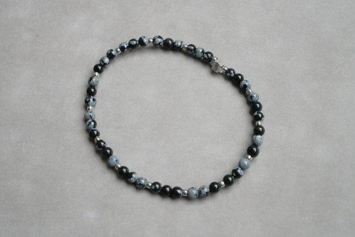 "Bracelet ""Naturea"" Obsidienne flocon de neige"