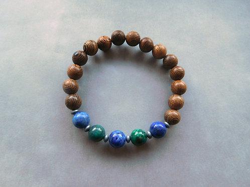 Bracelet Azurite-Malachite et Bois - perles de 8 mm