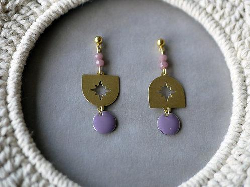 Boucles d'oreilles Estrella - Boucles d'oreilles pendantes en laiton
