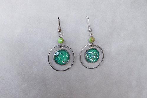 Galaxina vert émeraude - boucles d'oreilles cabochons pailletés géométrique