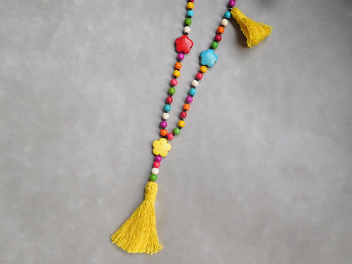 Colorina - Sautoir howlite multicolore et pompons jaunes