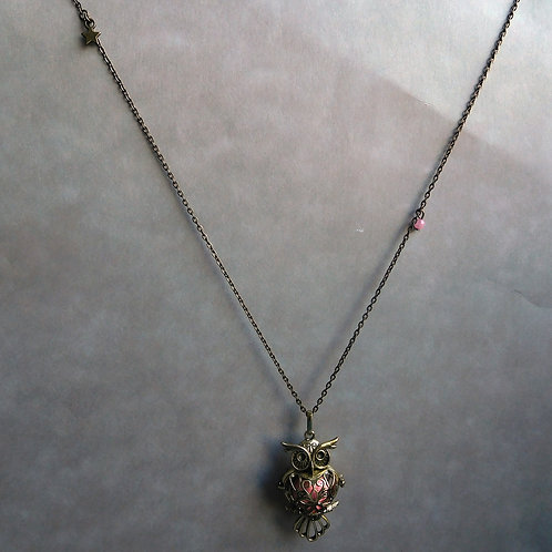 Bola de grossesse hibou bronze et perles roses