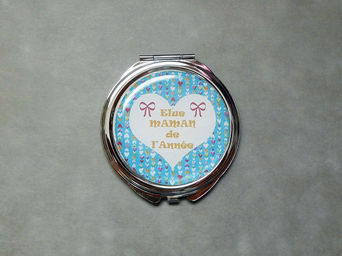 """Miroir """"Maman de l'année"""" coeur bleu - miroir de poche argenté avec cabochon"""