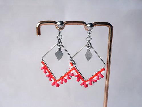 Boucles d'oreilles Lexa rouge - boucles d'oreilles perles miyuki et heis