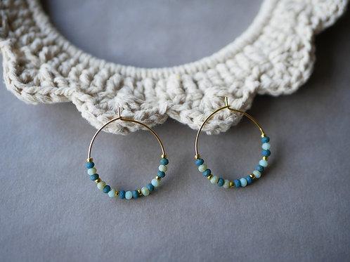 Créoles Celeste - Boucles d'oreilles Créoles en perles de verre et inox