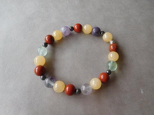 """Bracelet """"Concentration"""" Fluorite, Jaspe Rouge et Calcite jaune - perles de 8mm"""