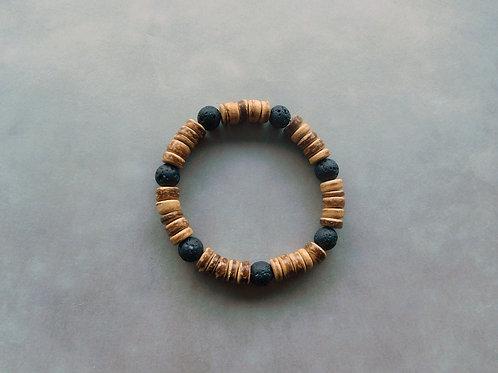 Bracelet Pierre de lave et Coco - perles de 8 mm