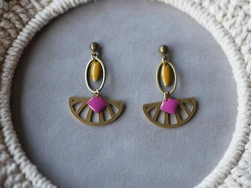 Boucles d'oreilles Maïa - Boucles d'oreilles pendantes en laiton