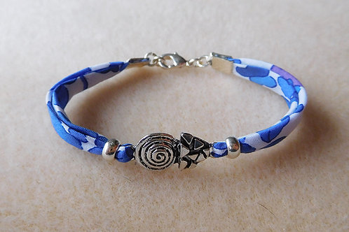 Bracelet Liberty fleuri bleu et blanc