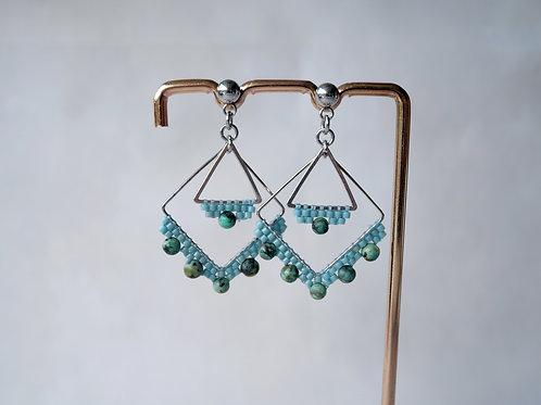 Boucles d'oreilles Maddie - boucles d'oreilles perles miyuki et turquoise